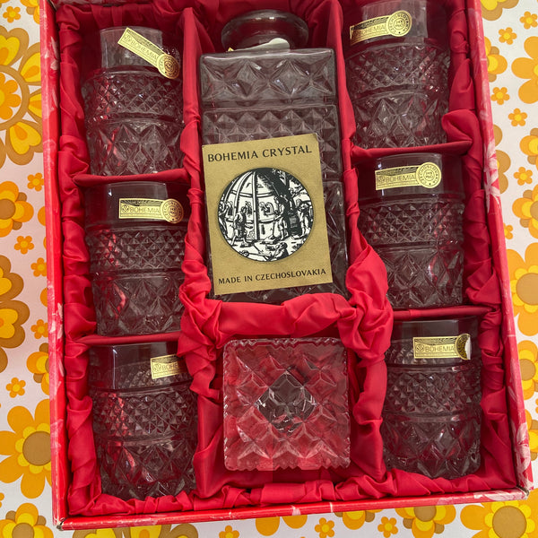BOHEMIA Boxed Lead Crystal Whiskey SET Decanter Glasses
