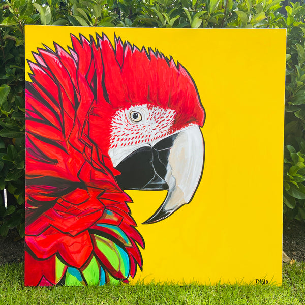 Huge 1200 by 1200 PARROT on Canvas ORIGINAL one of a KIND Painting