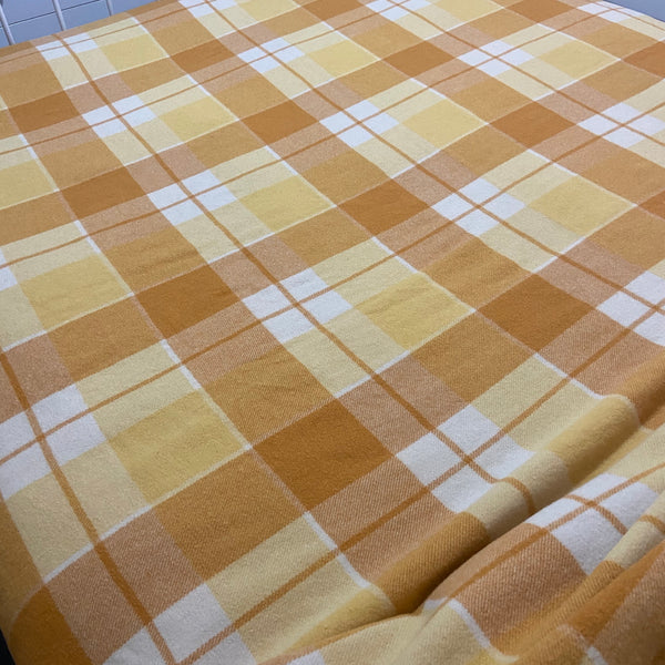 Checked VINTAGE Wool Blanket 70's Bedroom Home Warm Bedspread