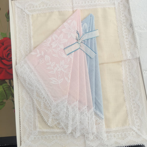 Boxed Set of Vintage Hankies Roses Pretty Lace Trim Retro