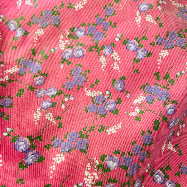 VINTAGE Floral Corduroy Fabric 70's Skirt Handbags SEWING