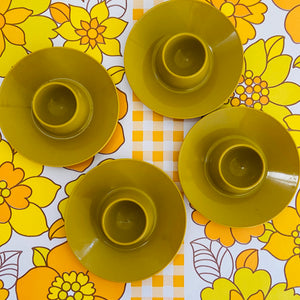 RETRO 70's Egg Cups Plastic KITCHEN Dinner Table