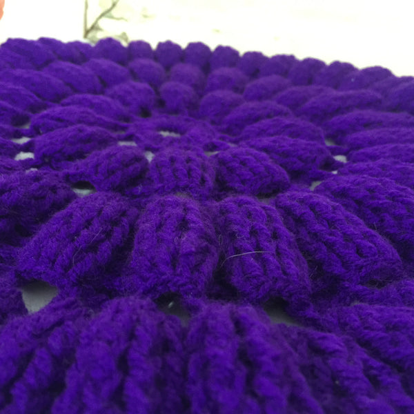 CHUNKY Vintage PURPLE Retro Table Display Doiley KNIT Chic - Pink Peacock  - 3