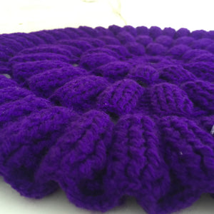 CHUNKY Vintage PURPLE Retro Table Display Doiley KNIT Chic - Pink Peacock  - 1