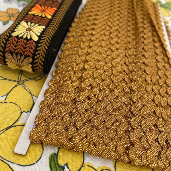 VINTAGE Embroidered Trim Ribbon 70's Craft Items RIC RAC Gold