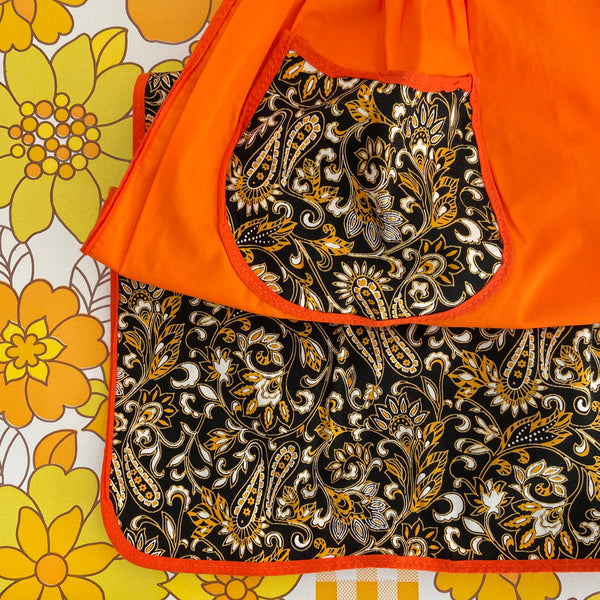 PAIR of Retro Cotton APRONS Bright Loud Fabric 70's KITCHEN