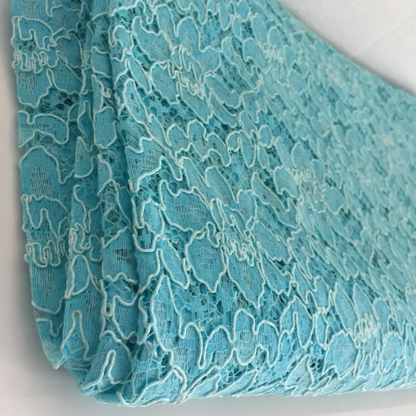 Antique Blue FABRIC Lace Sewing Dressmaking STUNNING