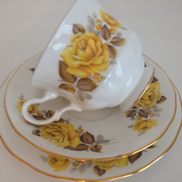 Vintage Queen Anne Yellow Floral Made in England Trio ~ High Tea - Pink Peacock  - 5