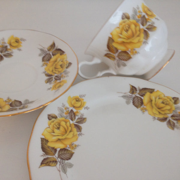 Vintage Queen Anne Yellow Floral Made in England Trio ~ High Tea - Pink Peacock  - 7