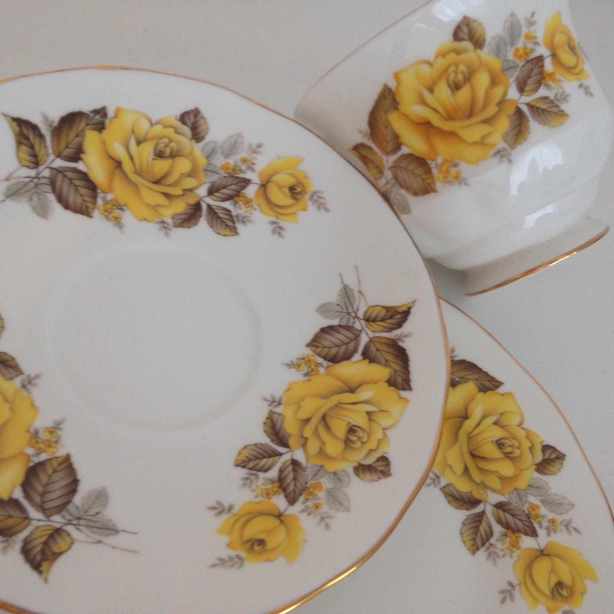 Vintage Queen Anne Yellow Floral Made in England Trio ~ High Tea - Pink Peacock  - 1