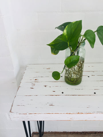 Rustic Side Table Farmhouse Vintage Repurposed Timber Table