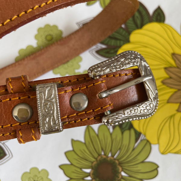 Vintage LEATHER Belt Rustic Fashion FESTIVAL AS NEW Boho Hippy