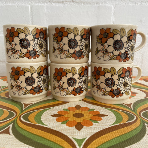 SET of Six Johnsons of Australia Cups & Saucers RETRO 70's Kitchen