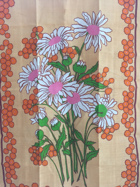ADORABLE Unused Linen Tea Towel FLORAL Print Fabric FAST COLOURS