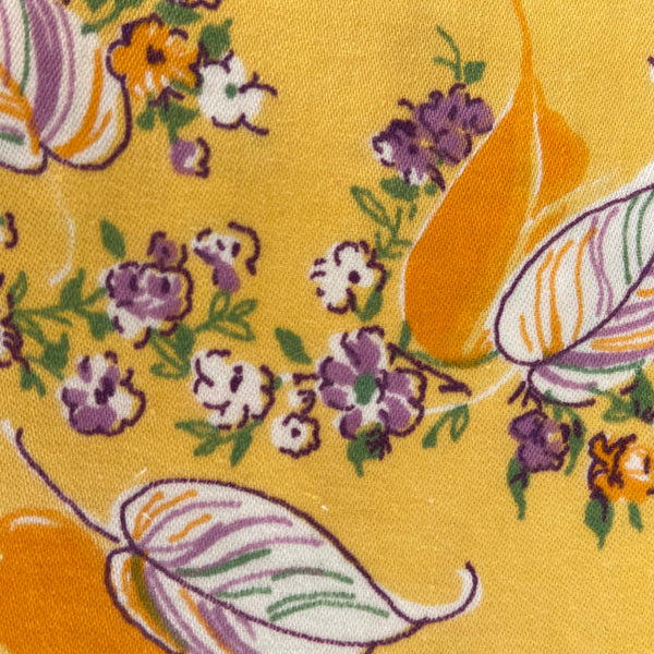 Cotton Remnant Fabric Orange Floral CRAFT Sewing PROJECTS