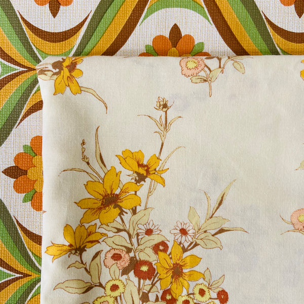 Cute Vintage Cotton Sheet Yellow Floral Pattern Craft Quilting Project