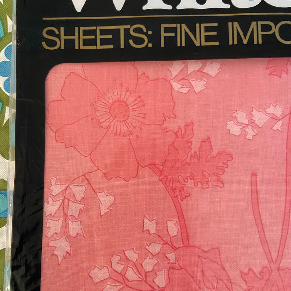 Vintage UNUSED Pink Floral RETRO Sheet QUALITY All Cotton