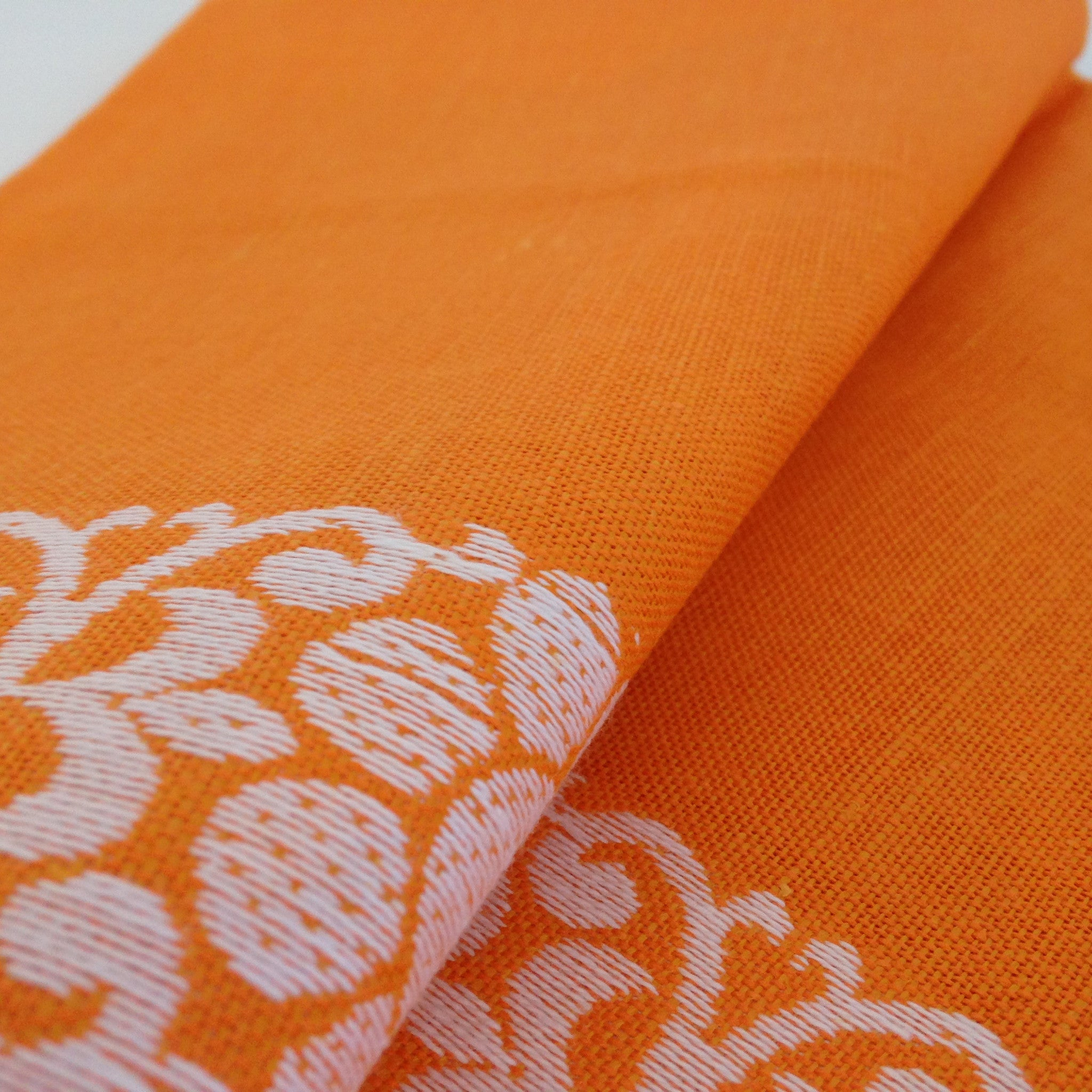 Bright Orange Vintage Linen Tea Towel Made In Germany  ~ New ~ Retro - Pink Peacock  - 1