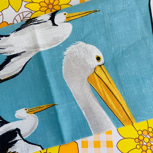 Australian Pelicans Linen / Cotton Tea Towel Up Cycle VINTAGE