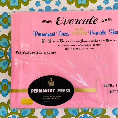 Made in JAPAN Vintage Double BRIGHT Pink Sheet Permanent PRESS