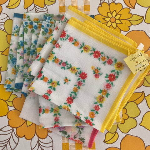 x 15 UNUSED Retro Floral Vintage Cotton Hankies