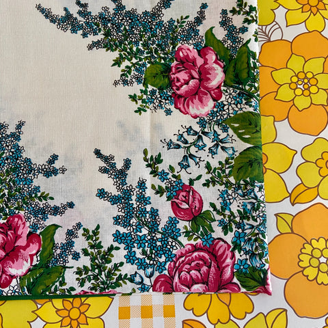 UNUSED Large All COTTON Table CLOTH Floral Vintage Made in BRAZIL