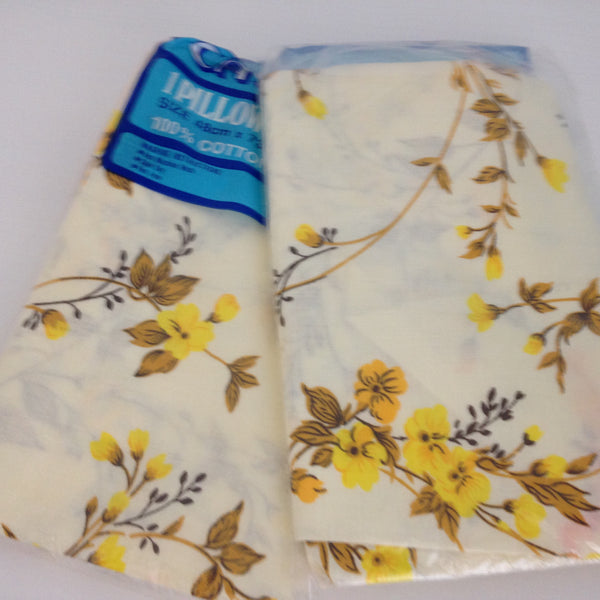 Two Brand New VINTAGE 100% Cotton Floral Pillow Cases Yellow - Pink Peacock  - 4