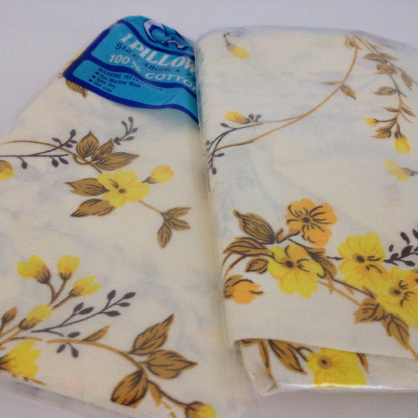 Two Brand New VINTAGE 100% Cotton Floral Pillow Cases Yellow - Pink Peacock  - 5