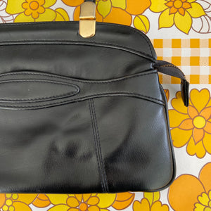 CUTE Vintage 60's Black Vinyl Handbag TOTE CLASSIC Bag