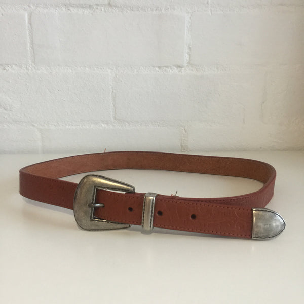 EVELYN VINTAGE Boho HIPPY Chic 80's BUCKLE BELT Tan 76cms