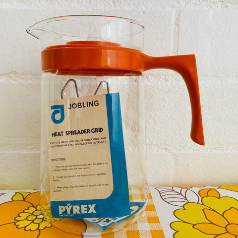 Pyrex Heat JUG UNUSED Retro Orange GLASS Camping Caravan