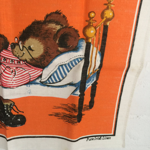 Cute Retro Bears Tea Towel Pure Irish Linen Vintage Print