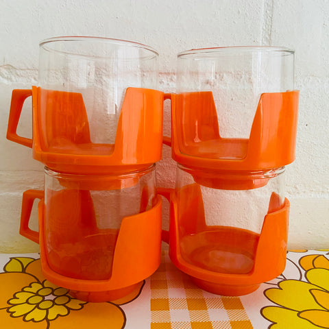 Made in ENGLAND Orange Mid Century Glasses RETRO HOME