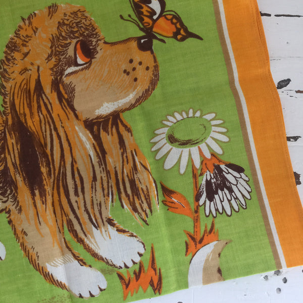 Fast Colours Half Linen RETRO Vintage Tea Towel Cat & Dog