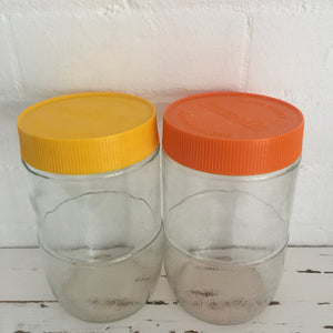 Retro Glass Jar Pair BUSHELLS & PABLO Orange & Yellow