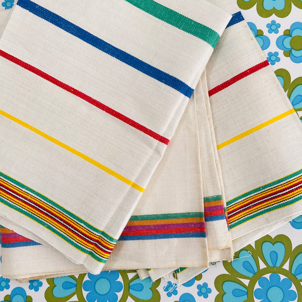 THREE Irish Tea TOWELS Striped Vintage Kitchen COUNTRY Home