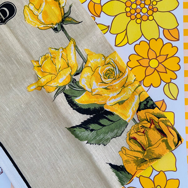 UNUSED Linen / Cotton Tea TOWEL Yellow Floral PRINT