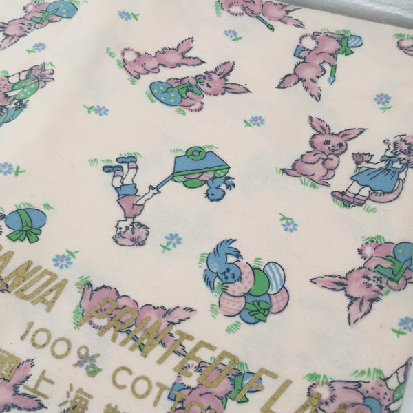 PANDA Printed Vintage Flannelette FABRIC 100% Cotton Craft Retro