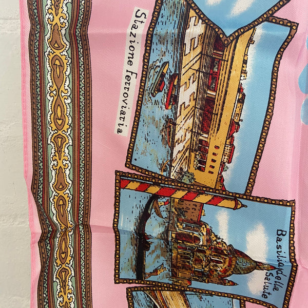 AWESOME Pink Vintage Scarf RETRO Fashion Venezia VENICE