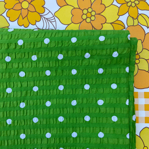 ADORABLE Vintage Green Polka Dot Cotton fabric LOVE THIS!