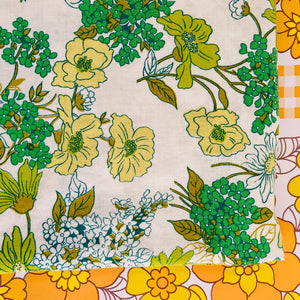 GREEN RETRO Vintage Cotton Sheet 70's Fabric SEWING