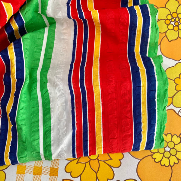 Roll of Vintage Fabric Cotton Striped Bright UNUSED Seersucker