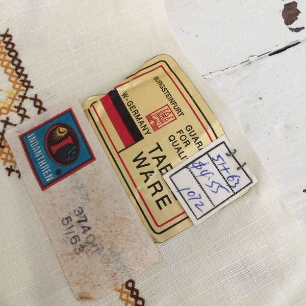 UNUSED Original Sticker Vintage Table Cloth Petit Point PATTERN Print