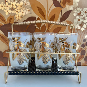 GLAM Mid Century Bar Glasses Gold Stand Black Mesh Base RETRO