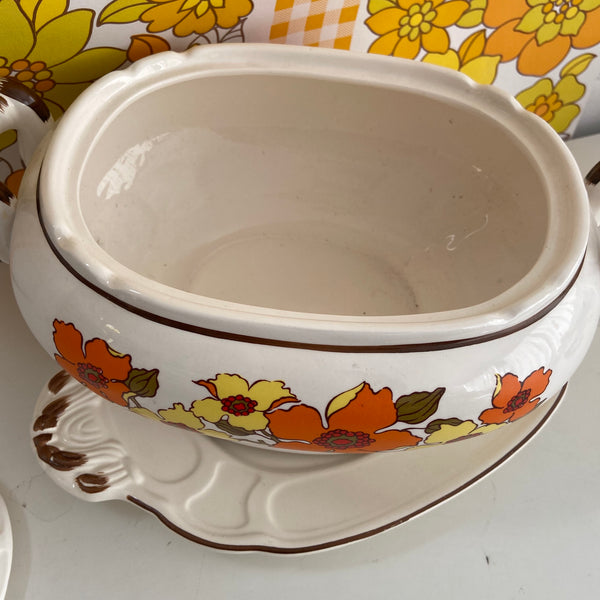 RETRO Floral 70's Casserole DISH Bainmarie Retro Dinner Party PLATE Large