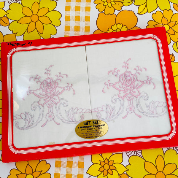 EMBROIDERED Pillow CASES Boxed SET Pink Vintage 70's