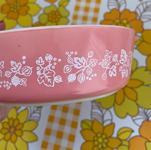 Vintage 471 Pyrex Pink Gooseberry Small 1 PT Casserole Dish Bowl Pink Gooseberry