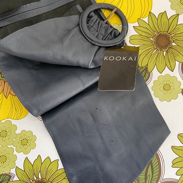 Grey KOOKAI WIDE Genuine LEATHER BELT Festival Club NEW