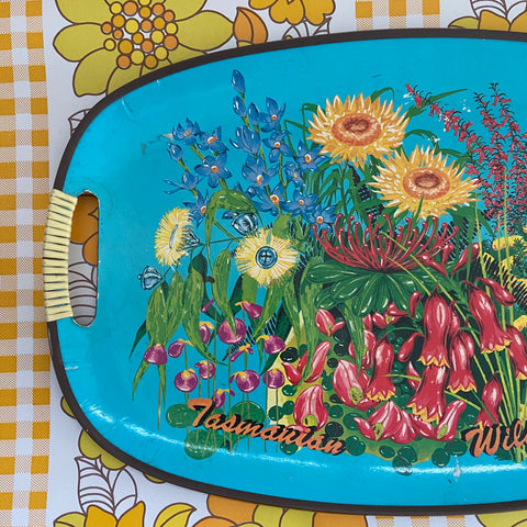 RETRO Collectable Souvenir Tray TASMANIA Wildflowers