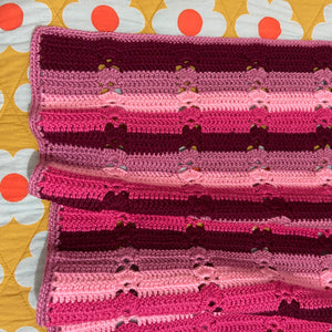 AS NEW Wool Blanket Pink Stripes Crochet Knit GIRLS Bedroom